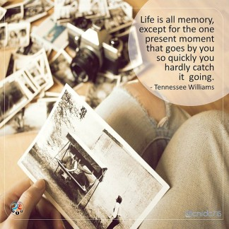 Life is all memory, except for the one present moment that goes by you so quickly you hardly catch it going